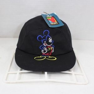 Vintage New Mickey Mouse 5 Panel Hat Cap Black